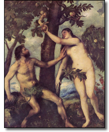 'Adam and Eve' oil on canvas by Titian (Vecellio di Gregorio Tiziano), c. 1550. Reproduced with permission of the Museo Nacional de Prado, Calle Ruiz de Alarcón 23, 28014 Madrid, Spain at www.museodelprado.es. The scene is based on the Old Testament story (Genesis 3, 1-6) of Man's fall from grace when, after disobeying God's orders, Adam and Eve were expelled from Paradise.